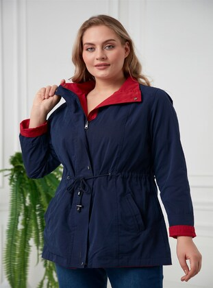 Navy Blue - Plus Size Trench coat