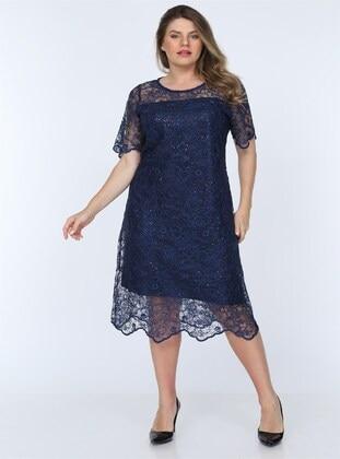 Navy Blue - Muslim Plus Size Evening Dress