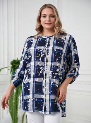 Navy Blue - Plus Size Blouse