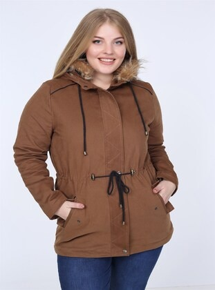 Tan - Plus Size Overcoat