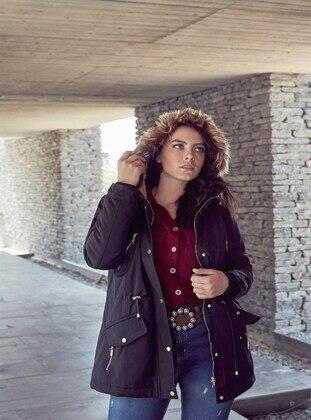 Black - Plus Size Overcoat - RMG XXL