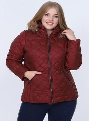 Maroon - Plus Size Overcoat - RMG XXL