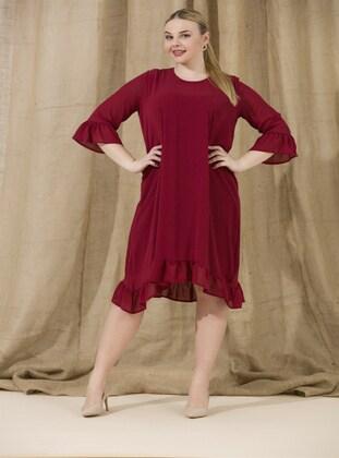 Maroon - Muslim Plus Size Evening Dress