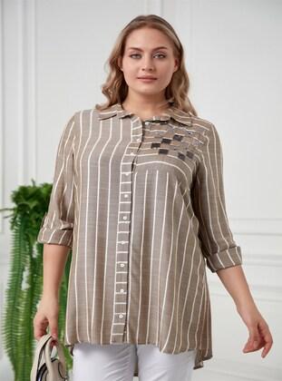 Khaki - Plus Size Blouse - RMG XXL