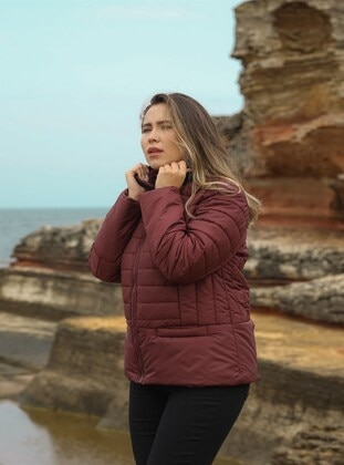 Maroon - Plus Size Coat - RMG XXL