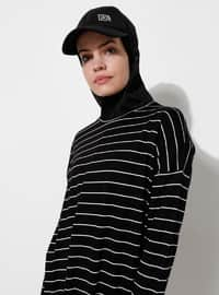 Black - Stripe - Viscose - Crew neck - Tracksuit Top