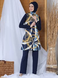 Navy Blue - Multi - Fully Covered Swimsuits