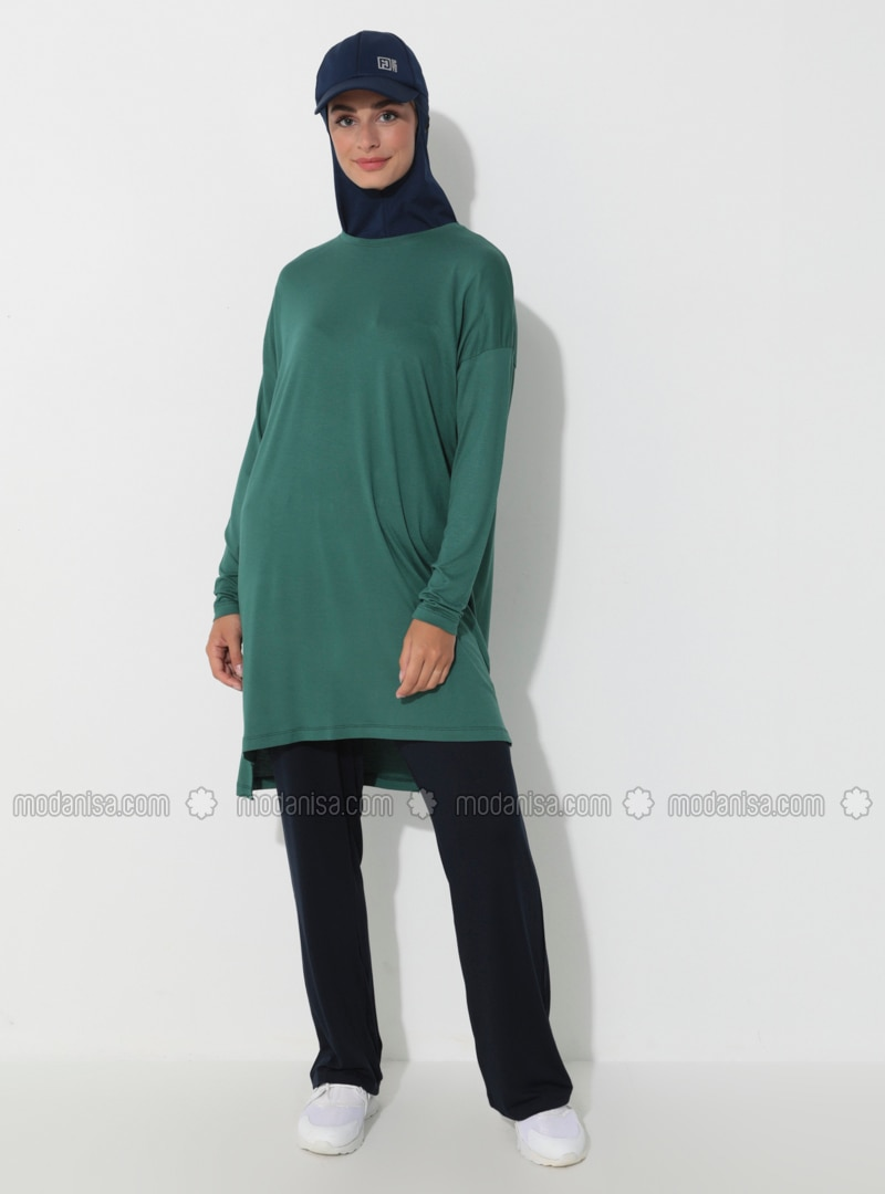 Green - Viscose - Crew neck - Tracksuit Top
