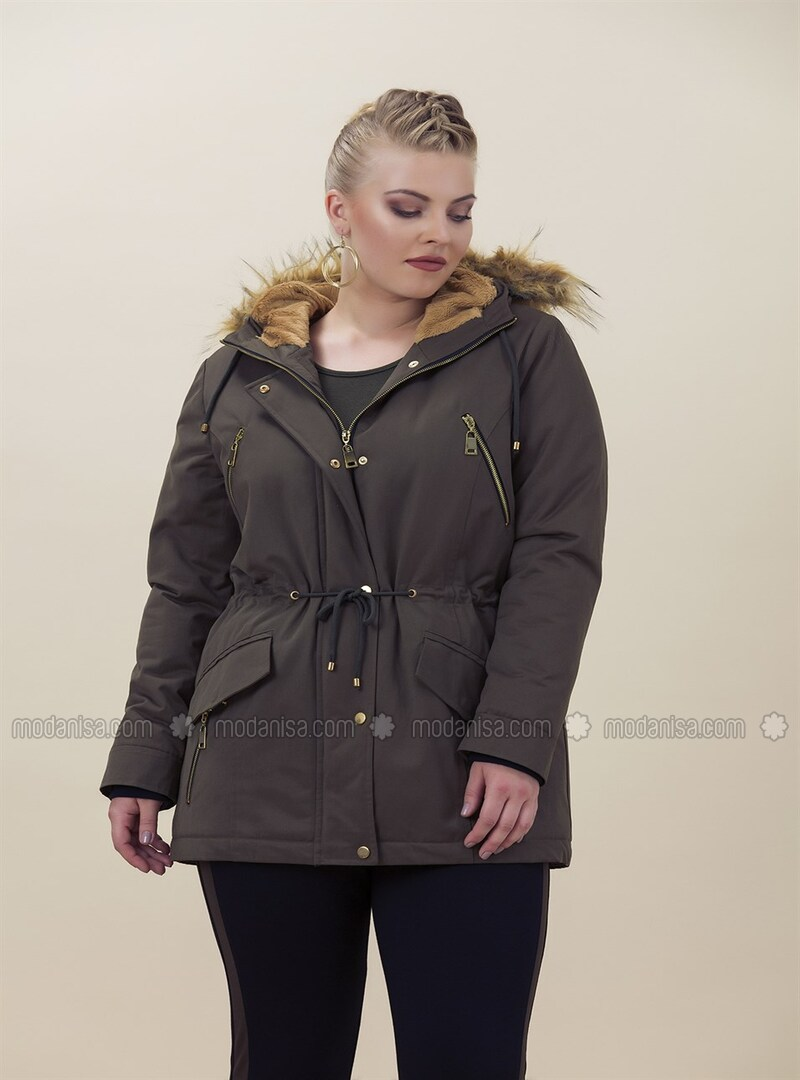 Khaki - Plus Size Overcoat