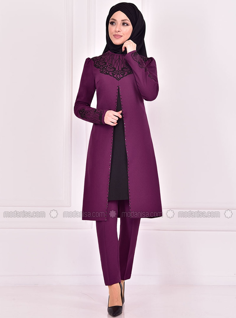 Unlined - Plum - Crew neck - Evening Suit