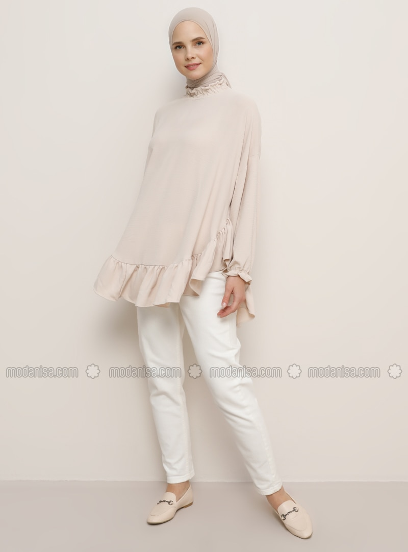 Beige - Polo neck - Blouses