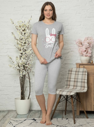Gray - Crew neck - Cotton - Pyjama Set