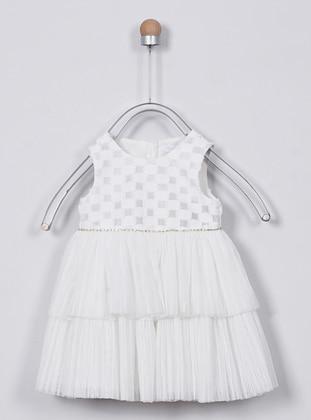 Jacquard - Crew neck - White - Ecru - Baby Dress