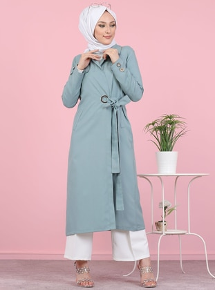 Mint - Unlined - Shawl Collar -  - Trench Coat - Tofisa