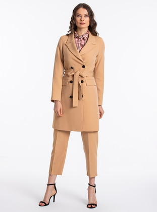 Camel - Brown - Unlined - Shawl Collar - Jacket