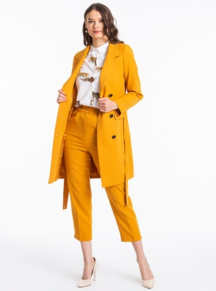Mustard - Unlined - Shawl Collar - Jacket