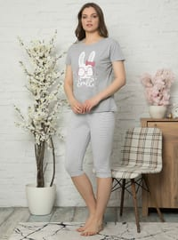 Gray - Crew neck -  - Pyjama Set