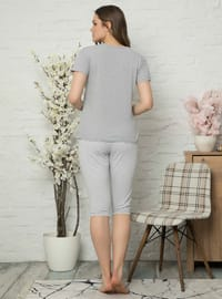 Gray - Crew neck - Cotton - Pyjama Set