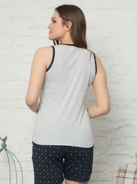 Gray - Multi - Crew neck -  - Pyjama Set