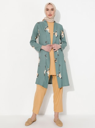 Khaki - Green - Floral - Unlined - Suit