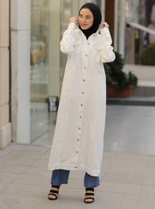 White - Unlined - Point Collar - Denim -  - Jacket