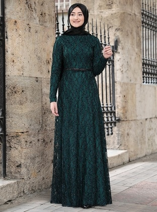 Emerald - Fully Lined - Crew neck - Muslim Evening Dress