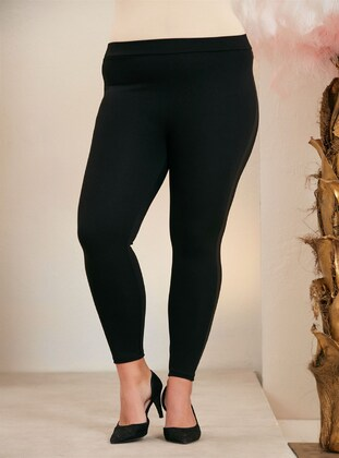 Black - Plus Size Leggings - RMG XXL