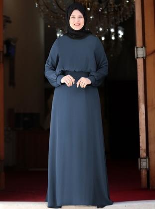 Indigo - Navy Blue - Blue - Crew neck - Fully Lined - Dress