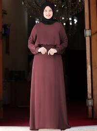 Lila - Yuvarlak yakalı - Astarlı - Elbise