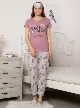 Lilac - Crew neck -  - Pyjama Set