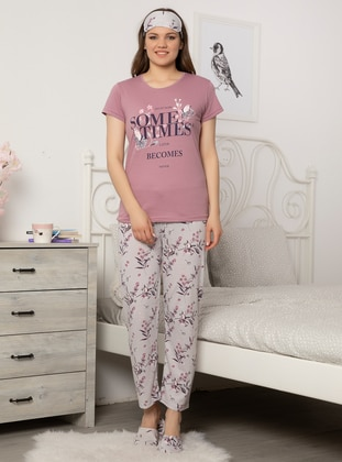Lilac - Crew neck - Cotton - Pyjama Set
