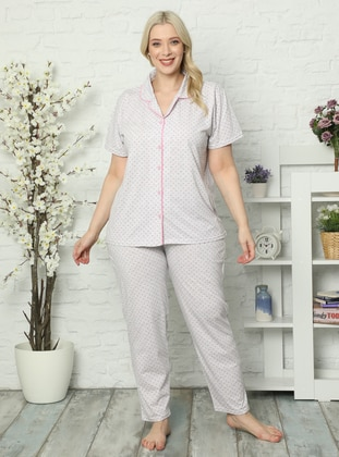 Gray - Pink - V neck Collar - Floral -  - Pyjama Set