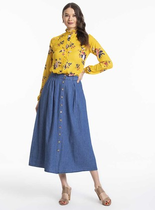 Yellow - Floral - Crew neck - Blouses