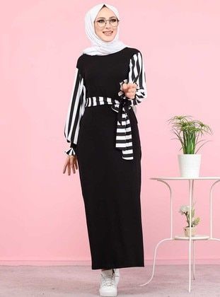 Black - Stripe - Crew neck - Unlined - Viscose - Dress