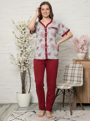 Maroon - V neck Collar -  - Pyjama Set