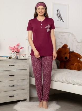 Purple - Crew neck - Viscose - Pyjama Set