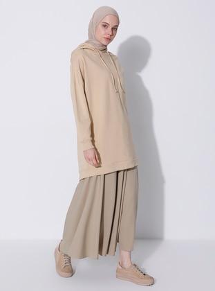 Khaki - Fully Lined - Modal - Skirt