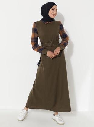 Khaki - Plaid - Point Collar - Unlined - Dress