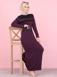 Mor - Siyah - Yuvarlak yakalı - Astarsız kumaş - Viskon - Elbise