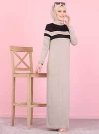 Vizon - Yuvarlak yakalı - Astarsız kumaş - Viskon - Elbise