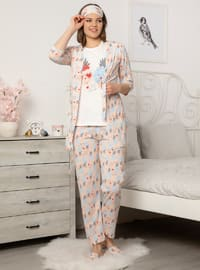 Salmon - Crew neck - Cotton - Pyjama Set
