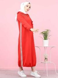 Kırmızı - Astarsız - - Elbise