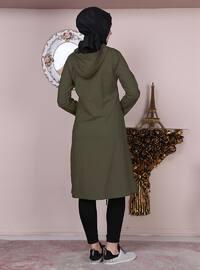 Khaki - Unlined - Crew neck -  - Topcoat