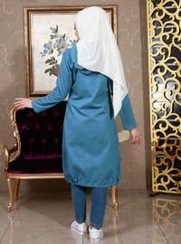 Blue - Unlined - Crew neck -  - Topcoat