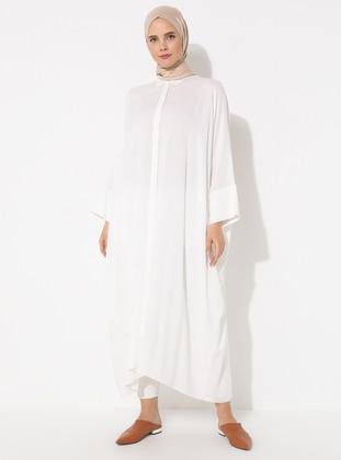 Cream - Point Collar - Unlined - Viscose - Dress