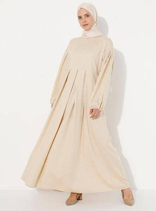 Yellow - Crew neck - Unlined -  - Dress