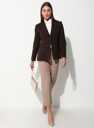 Brown - Stripe - Fully Lined - Shawl Collar - Jacket