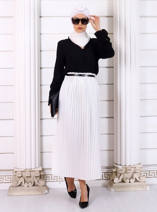 White - Ecru - Unlined - Viscose - Skirt