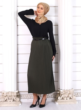 Khaki - Unlined - Viscose - Skirt