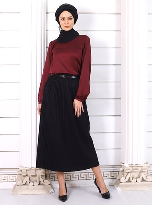 Black - Unlined - Viscose - Skirt - Por La Cara
